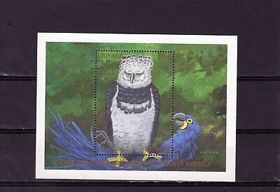 GUYANA $130 Harpy Eagle Mini Sheet , Mtd MINT