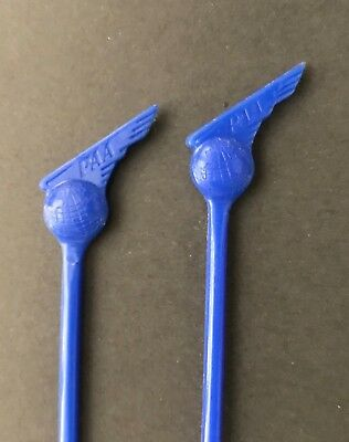 Vintage 2 PAN AM American AIRLINES Logo Blue 6 inch Bar Swizzle Stir Sticks