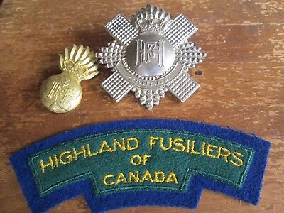 QC Highland Fusiliers Canada Badge and Collar Badge + Cloth Shoulder Title