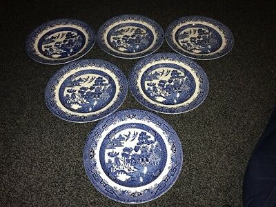 Churchill TABLEWARE BLUE WILLOW PATTERN 6 X 9.5 INCH DINNER PLATES