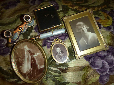 LOT of 4 SMALL OLD VINTAGE GILT METAL GLAZED PICTURE/PHOTO FRAMES