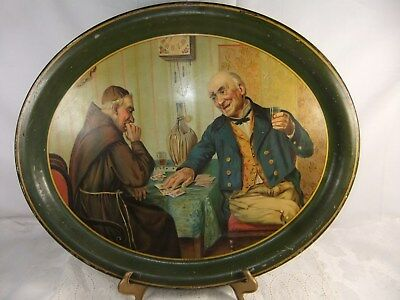 "ANTIQUE OVAL TIN TOLEWARE SERVING TRAY PLATTER ""A SHOWDOWN"" CARD GAME 16"" x 13"""