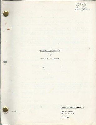 """1990s Vintage MOVIE SCRIPT """"Consenting Adults"""" Excellent Condition Clean Complet"""
