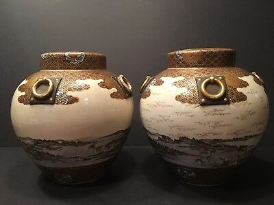 Antique Japanese Large Pair Satsuma Vases, Meiji period. Signed