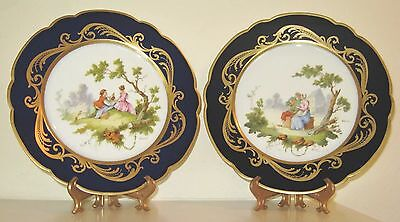 Pair Cobalt Allegorical Love Plates Handpainted Signed French 1895