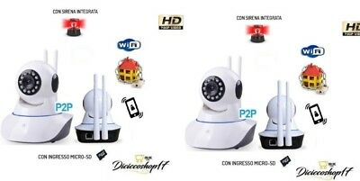 2 Telecamere Ip P2P Hd 720P Camera Infrarossi Wireless Wi Fi Registra Micro Sd