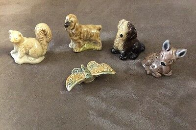 Set Of Five Vintage Wade Whimsies ~ Fawn, Squirrel, Two Dogs & A Butterfly