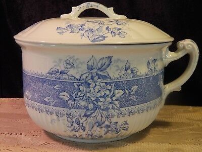 Antique Lucerne England - Blue & White Wild Rose Transferware Chamber Pot w/ Lid