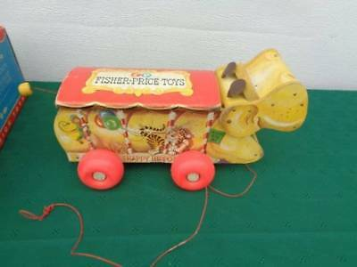 Vintage Fisher Price Wood Pull Toy Happy Hippo 151 In Box Nice