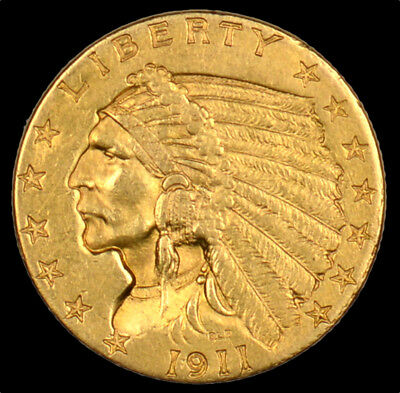 1911 Indian Head Gold Quarter Eagle $2.50 About Uncirculated