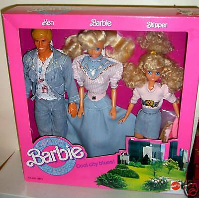 #4639 NRFB Mattel Toys R Us Cool City Blues Denim Fun Barbie, Ken, Skipper GS