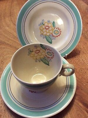 Susie Cooper style Woods Ivory Ware Trio Floral 1930's