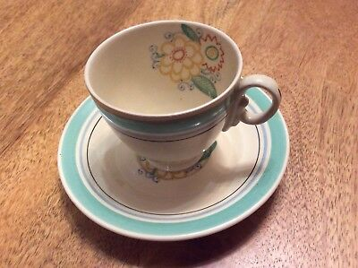 Susie Cooper style Woods Ivory Ware Cup & Saucer Floral 1930's