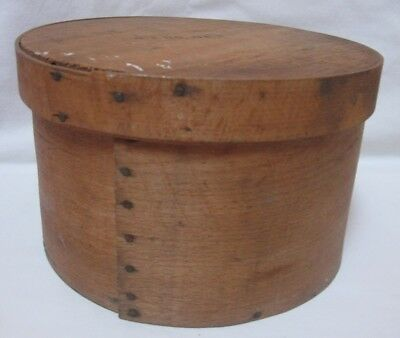 Antique Primitive Round Wood Pantry Box Measure w/ Cover #2 5 lbs net