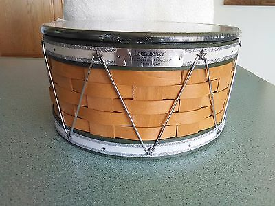 Longaberger 2012 Green Christmas Drum basket set NEW In hand