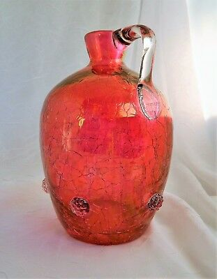 "~ EARLY Hand Blown CRANBERRY CRACKLE GLASS JUG APPLIED PRUNTS HANDLE  7-8"" ~"