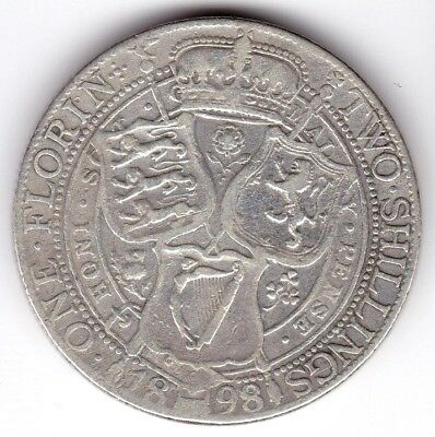 1898 British Silver Coin Two Shillings ,One Florin Queen Victoria, Great Britain