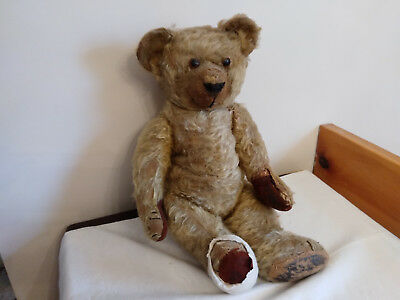 "OLD ANTIQUE 20"" Mohair Teddy Bear Excelsior Stuffed Toy"