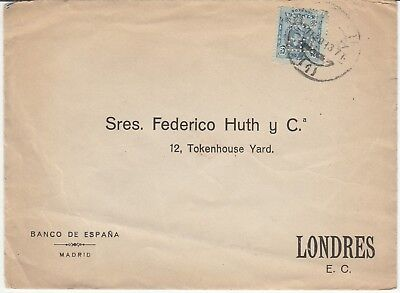 """Stamps  Spain  'Perfin'  Cover  """"BS""""  1913"""