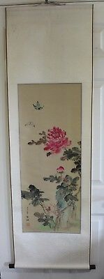 Vintage Chinese Water Color Hand Painting On Silk Scroll