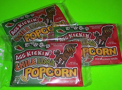 ASS KICKIN' CHILE LIME POPCORN - 3 x 3.5 OZ. BAGS - GREAT FLAVOR, ORDER TODAY!