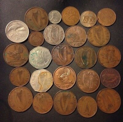 Old Ireland Coin Lot - 25 LESS THAN PERFECT COINS - Overstock - Lot #114