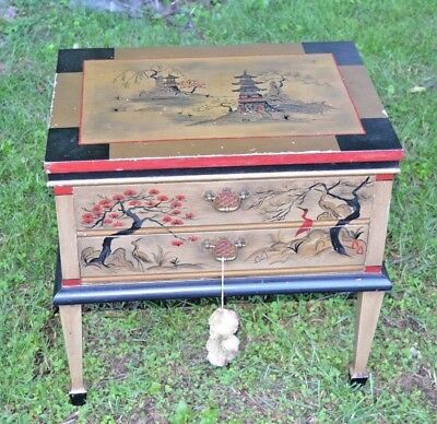 Antique Japanese Hand Painted 2 Drawer Scholars Floor Style Writing Desk table