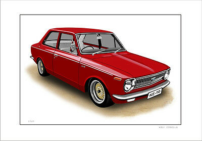 Toyota  Ke10  Corolla  Limited Edition Car  Drawing Print   ( 6 Car Colours)
