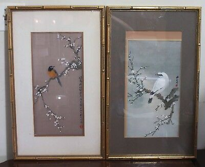 Pair Of Vintage Chinese Water Color Painting On Silk