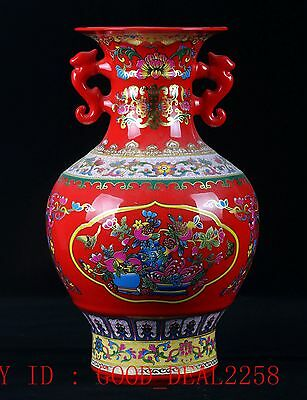 Chinese Porcelain Hand-painted Peony Vase W Qing Dynasty Qianlong Mark CQCQ27