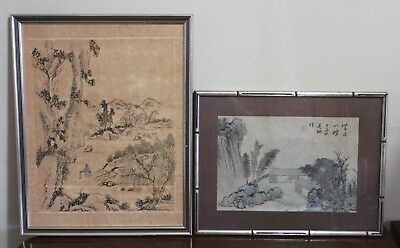 Pair Of Vintage Chinese Water Color Painting On Paper