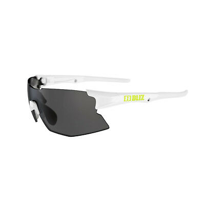 Bliz Tempo Small Fit Sunglasses Smoke Lens with Silver Mirror - White/Lime