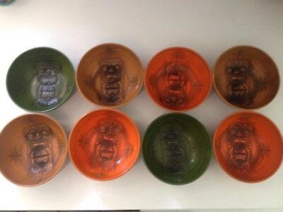 Paul Marshall MId Century Modern Tiki Plastic Bowls Set Of Eight