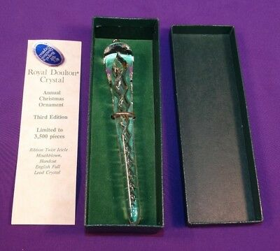 Vintage Royal Doulton Crystal 3Rd Annual Christmas Ornament Ribbon Twist Icicle