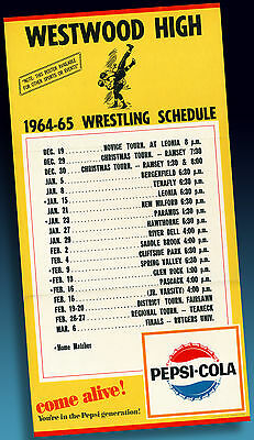 Pepsi Cola | Westwood High >1964-65 Wrestling Shedule  Sample Poster Ordermuster