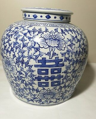 Chinese blue and white Porcelain big Jinger Vase with lid