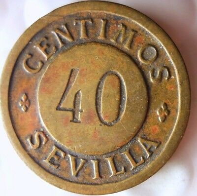 1935 ca SPAIN (SEVILLE) 40 CENTIMOS - Very Interesting Piece - Lot #114