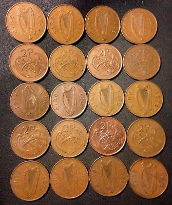 Old Ireland Coin Lot - 20 Excellent 2 Pence Coins - Nice Group - Lot #114