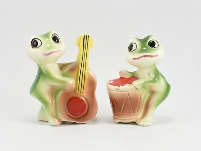 Green Frogs Anthropomorphic Drum Band S&P Shakers Ceramic VTG Japan Musical 50s