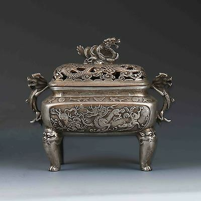 Chinese Tibetan Silver Hand-carved Dragon Incense Burner&Lid W XuanDe Mark G459