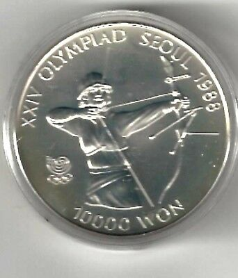 Korea - South, 10000 Won, 1988, Seoul Oly., - Sil., 1 Troy Oz. - Women's Archery