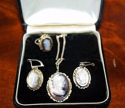Antique Edwardian French Sterling 800 Fine Abalone Marcasites Cameo Demi Set FS1