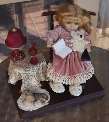 Cute Reading Doll with Cat, Table, Lamp, Tea.