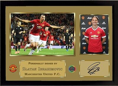 Zlatan Ibrahimovic signed printed autographed Manchester United FC Framed