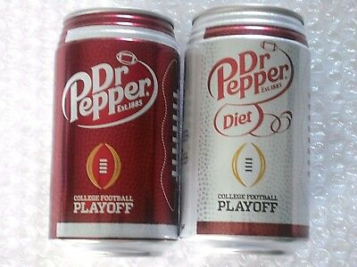 NEW 2017 FULL 12 oz PEPPER + DIET COLLEGE FOOTBALL PLAYOFF (not NFL) Ribbed Can