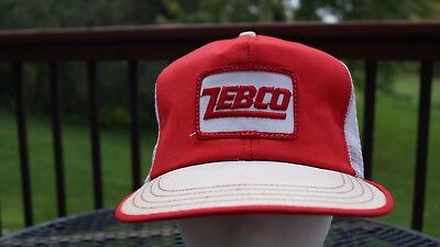 Vintage 80s ZEBCO Fishing Snapback Mesh Cap Trucker Hat Rod Reel USA Made Patch