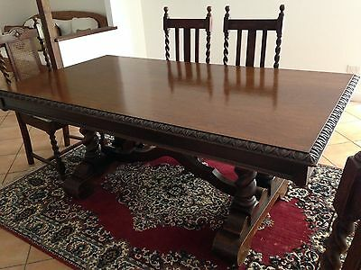 Antique English Oak Dining Table (6 chairs thrown In)