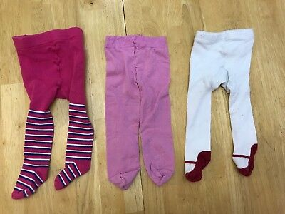 Baby Girls Lot Of Pink Red Baby Gap 6-12 Tights