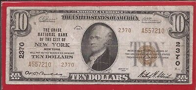 1929 $10 FRBN,Type II,Charter 2370,Chase National Bank of The City of NY,NY,VF.