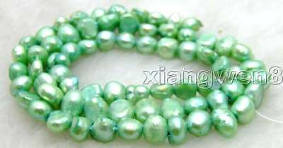 """SALE Small 5-6mm Natural Green Freshwater BAROQUE Pearl Loose Beads 14""""-los524"""